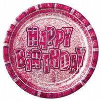 "Pink Glitz Happy Birthday 9"" Prism Paper Plates (8)"